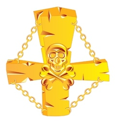 Cross and skull golden vector image