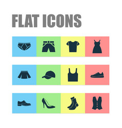dress icons set collection of sneakers trunks vector image