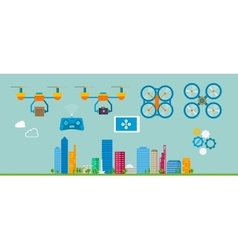 Drone delivery flat icon vector