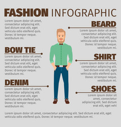 Fashion infographic with young hipster man vector