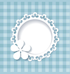 floral frame on the blue pattern vector image