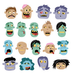 funny zombie avatar icon set in cartoon style vector image