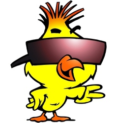 Hand-drawn of an smart chicken with cool sunglass vector image vector image