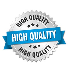 High quality 3d silver badge with blue ribbon vector