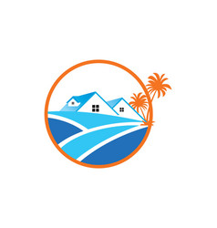 Home palm tree icon logo vector