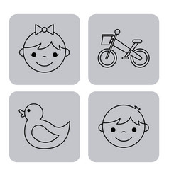 Icons set kinder garten vector