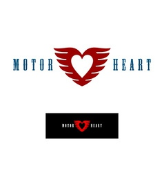 Motor heart logo template vector