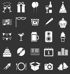 New Year icons on black background vector image