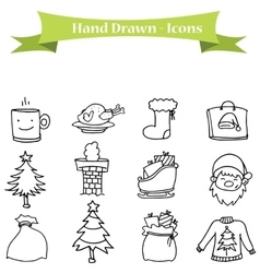 Object christmas set of icons vector