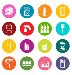painting icons many colors set vector image