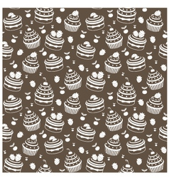 seamless cupcake pattern vector image vector image