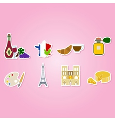 Set with french icons vector