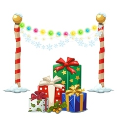 Street lights and gift boxes christmas time vector