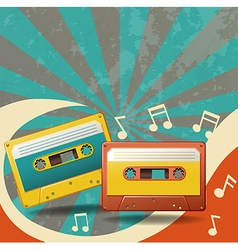 Two vintage tape cassettes and music notes vector image vector image