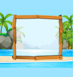 wooden frame with ocean in background vector image