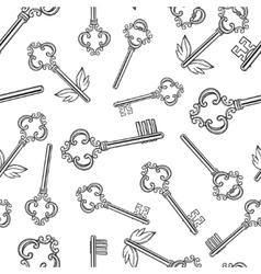 Outline skeleton vintage keys seamless pattern vector image