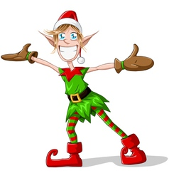 Christmas elf spreading arms and smiling vector