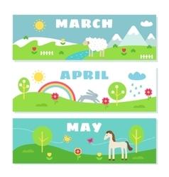 Spring months calendar flashcards set nature vector