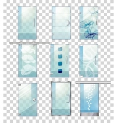 Set of Various Types of Contemporary Glass Doors vector image