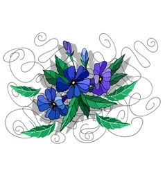Beautiful abstract flowers in blue colors vector