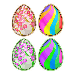 Easter eggs with floral and striped pattern vector