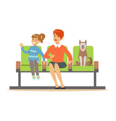 mother and her daughter sitting in waiting hall vector image