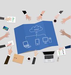 Cloud service concept backup data concept vector