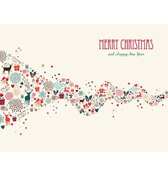 Merry christmas wave composition greeting card vector