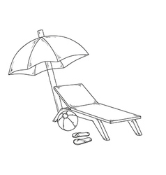 Parasol flops ball and chair vector