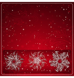 Red christmas card with snowflakes vector