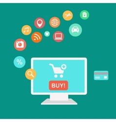 Online shopping and e-commerce concept buying vector