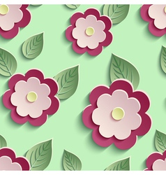Floral background seamless pattern with 3d flowers vector