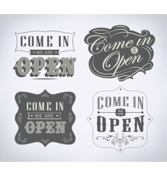 Open vintage retro sign vector