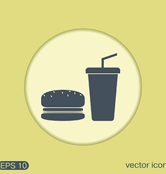 Burger and paper cup symbol of fast food vector