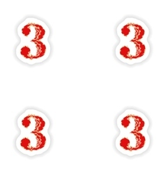 Assembly stickers fiery font red number 3 on white vector