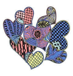 Pattern of hearts ornate zentangle style vector
