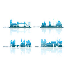 Architectural landmarks of european capitals vector