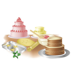 Baking cakes and cookies vector