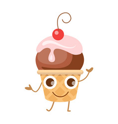 Ball of ice cream in cone funny cartoon character vector