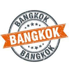 Bangkok red round grunge vintage ribbon stamp vector