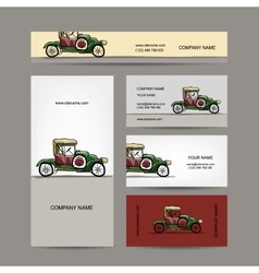 Business cards design retro car vector image