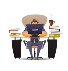 Businessman works hard at an office vector