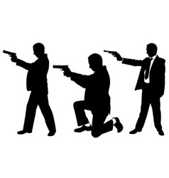 Businessmen with guns vector