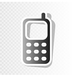 Cell phone sign new year blackish icon on vector