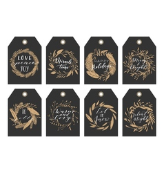 Christmas tags and wreaths vector image vector image