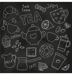 Doodle set of tea and coffee cups and sweets on vector image vector image