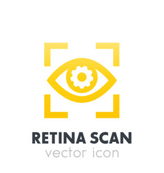 Eye with gear icon biometric recognition vector