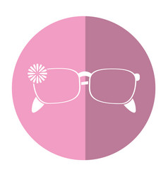 Female glasses flower accessory shadow vector