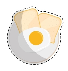 Fried egg and bread icon image vector