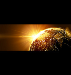 global network with sunrise vector image